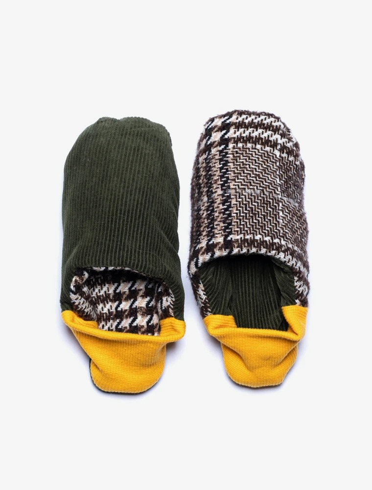 best house slippers for men: plaid and green corduroy Merippa reversible slipper