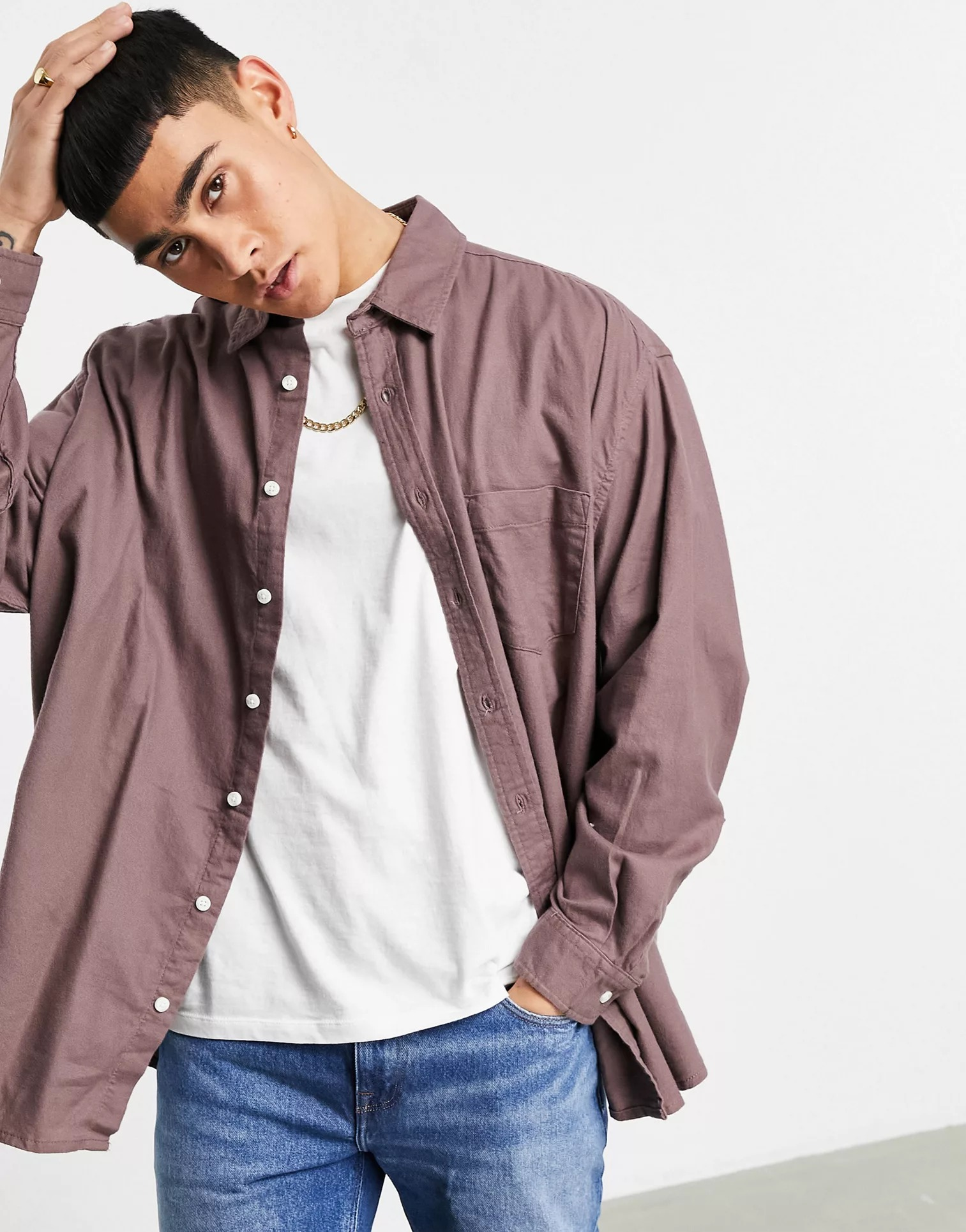 ASOS DESIGN Extreme Oversized Flannel Shirt in Taupe