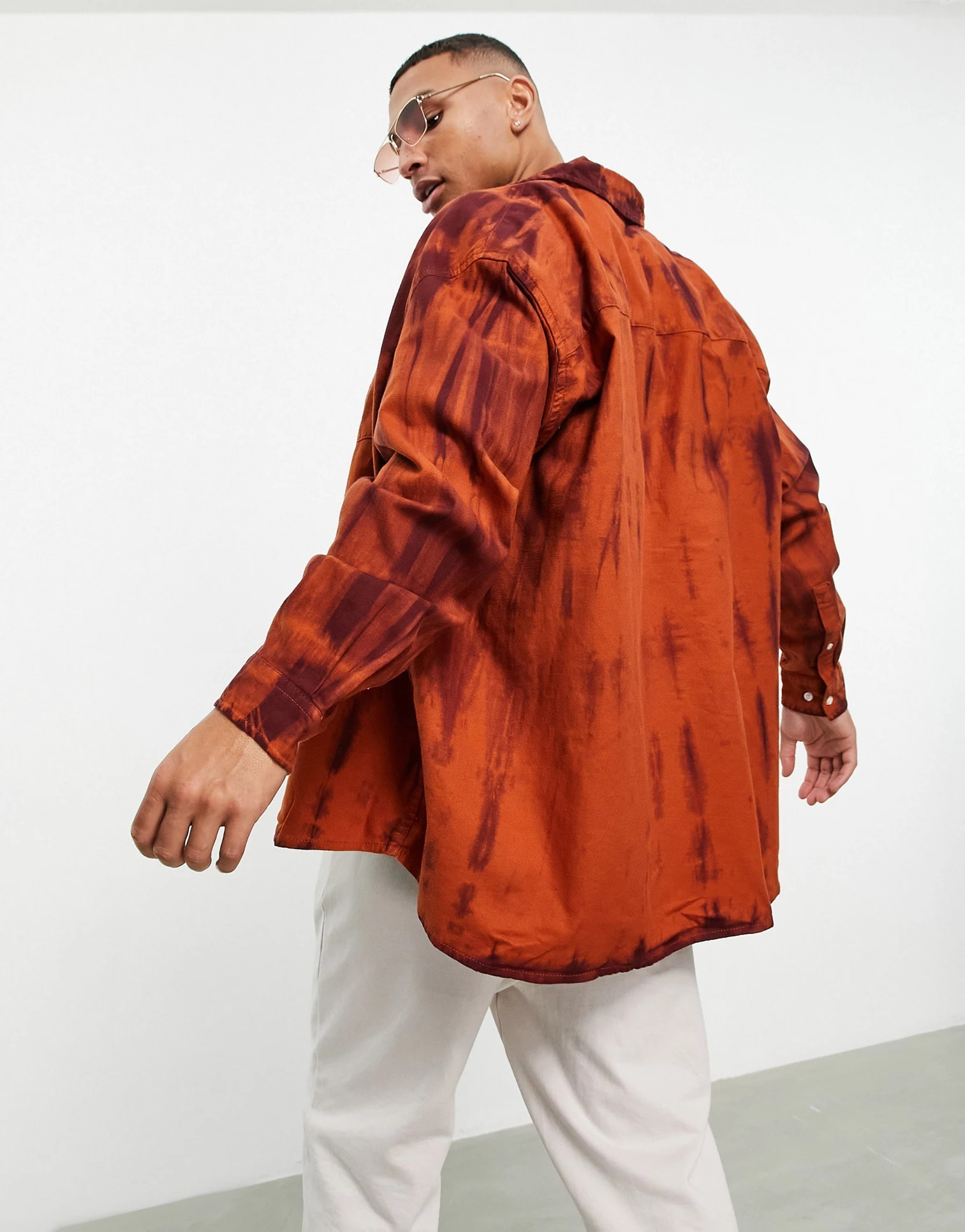 ASOS DESIGN Extreme Oversized Flannel Shirt in Tie-Dye