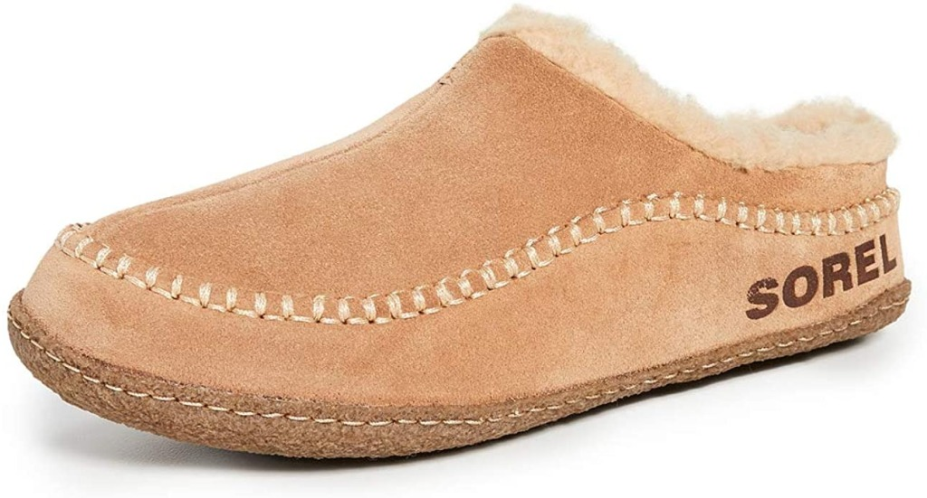 house slippers for men: Sorel Falcon Ridge II House Slippers (beige suede house slipper with fur)