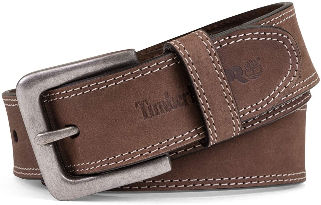 brown leather workmen's belt with silver belt buckle