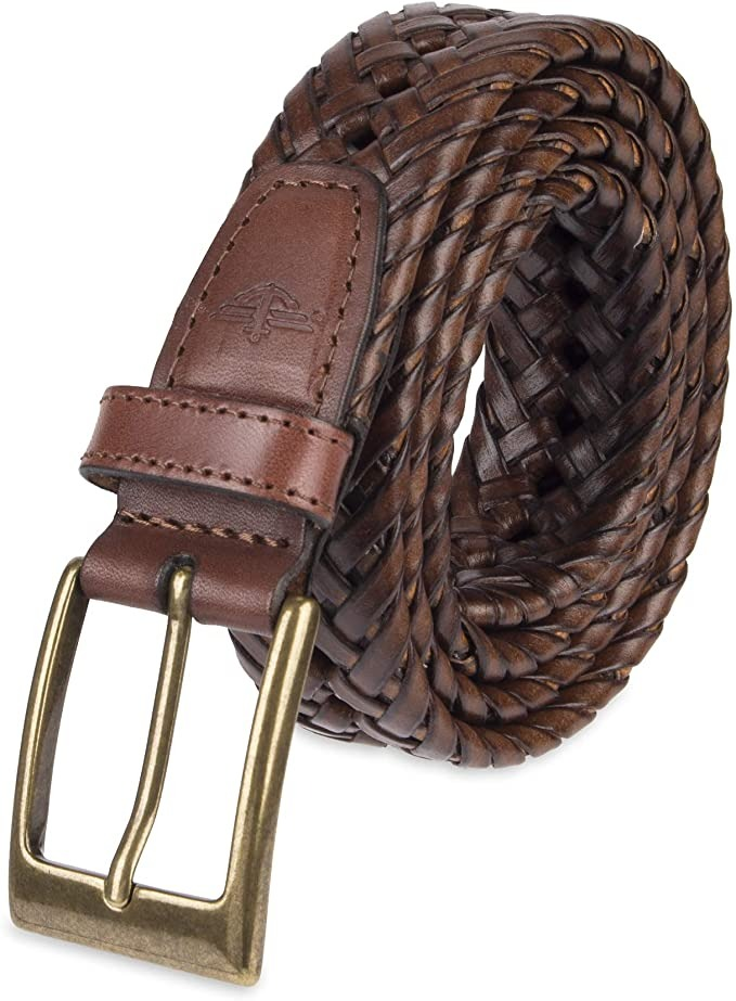 brown leather braided belt with bronze belt buckle