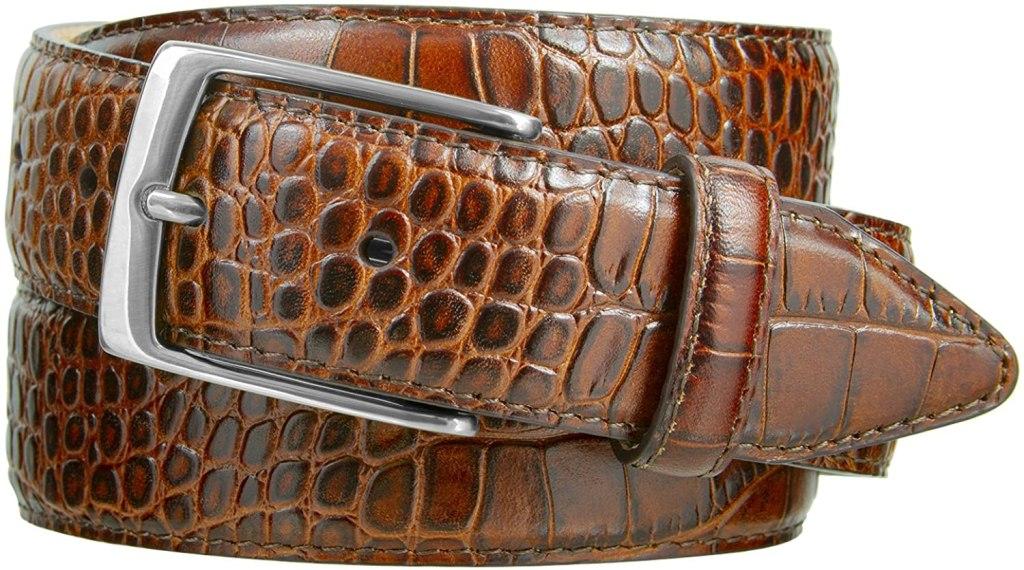 faux brown alligator dress belt with silver belt buckle
