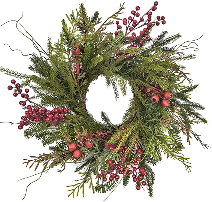 green pine and red berry Christmas wreath