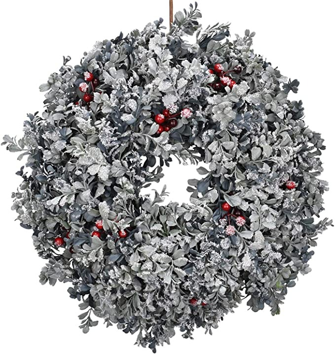 white frosted Christmas wreath