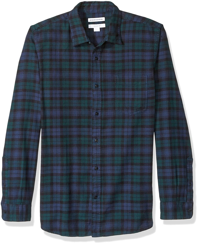 Amazon Essentials Slim-Fit Long-Sleeve Plaid Flannel Shirt