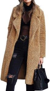 Angashion fuzzy fleece camel coat, camel coats for women