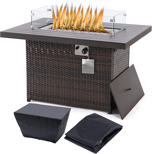 YeSea Rectangle Propane Fire Pit Table