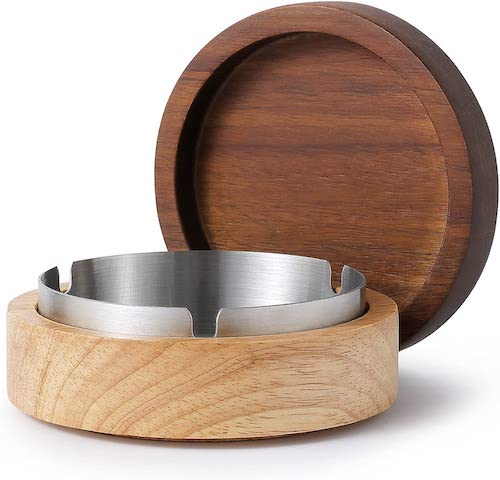 Hcssade Wooden Ashtray with Stainless Steel Liner