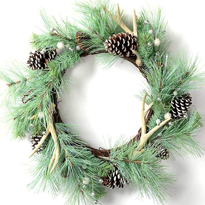 Christmas wreath with pinecones and antlers