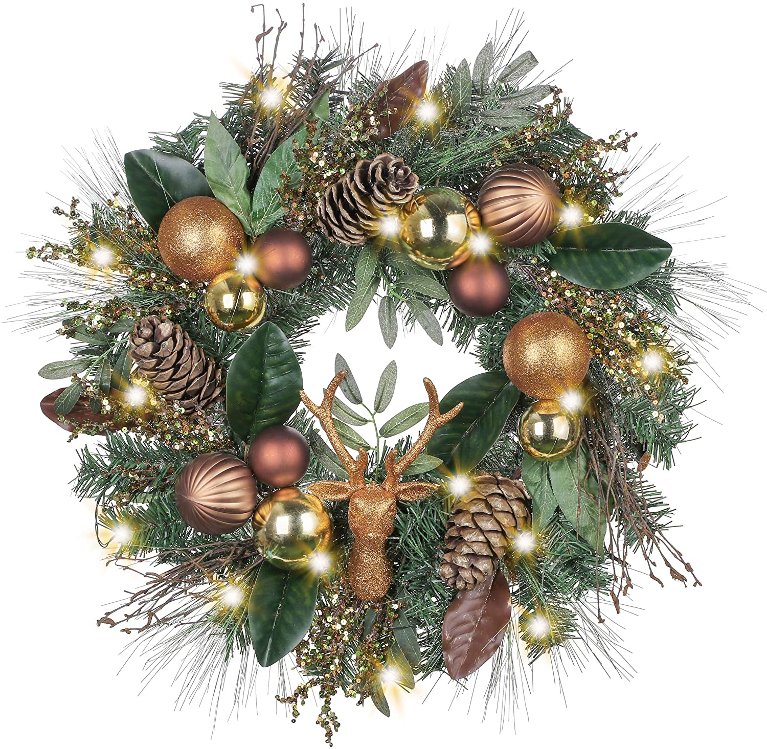 christmas wreath with pine cones, gold ornaments, and gold artificial deer head