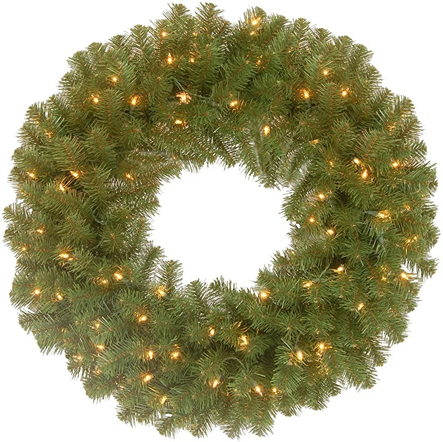 green Christmas wreath with white lights