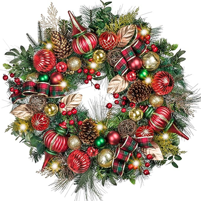 christmas wreath with red, green, gold ornaments