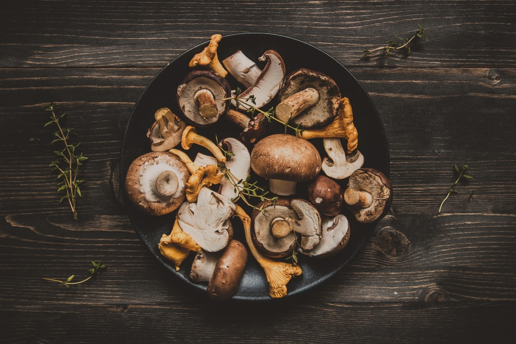 Fresh mixed forest mushrooms on the wooden black table, top view.