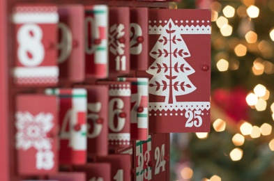 Christmas photograph of the doors of an Advent Calendar open for Christmas