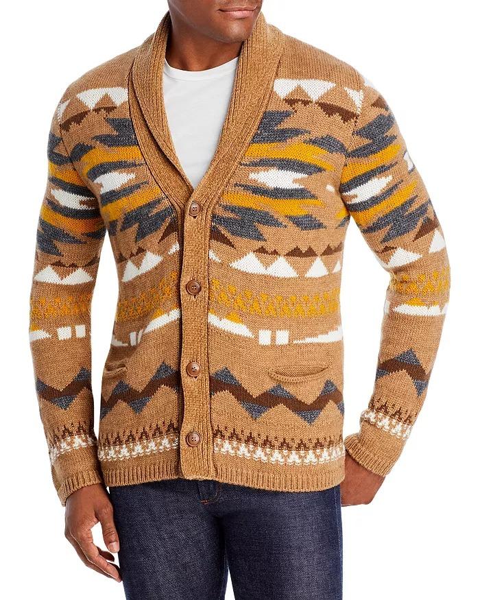 Altea-Bottoni-geometric-shawl-collar-cardigan