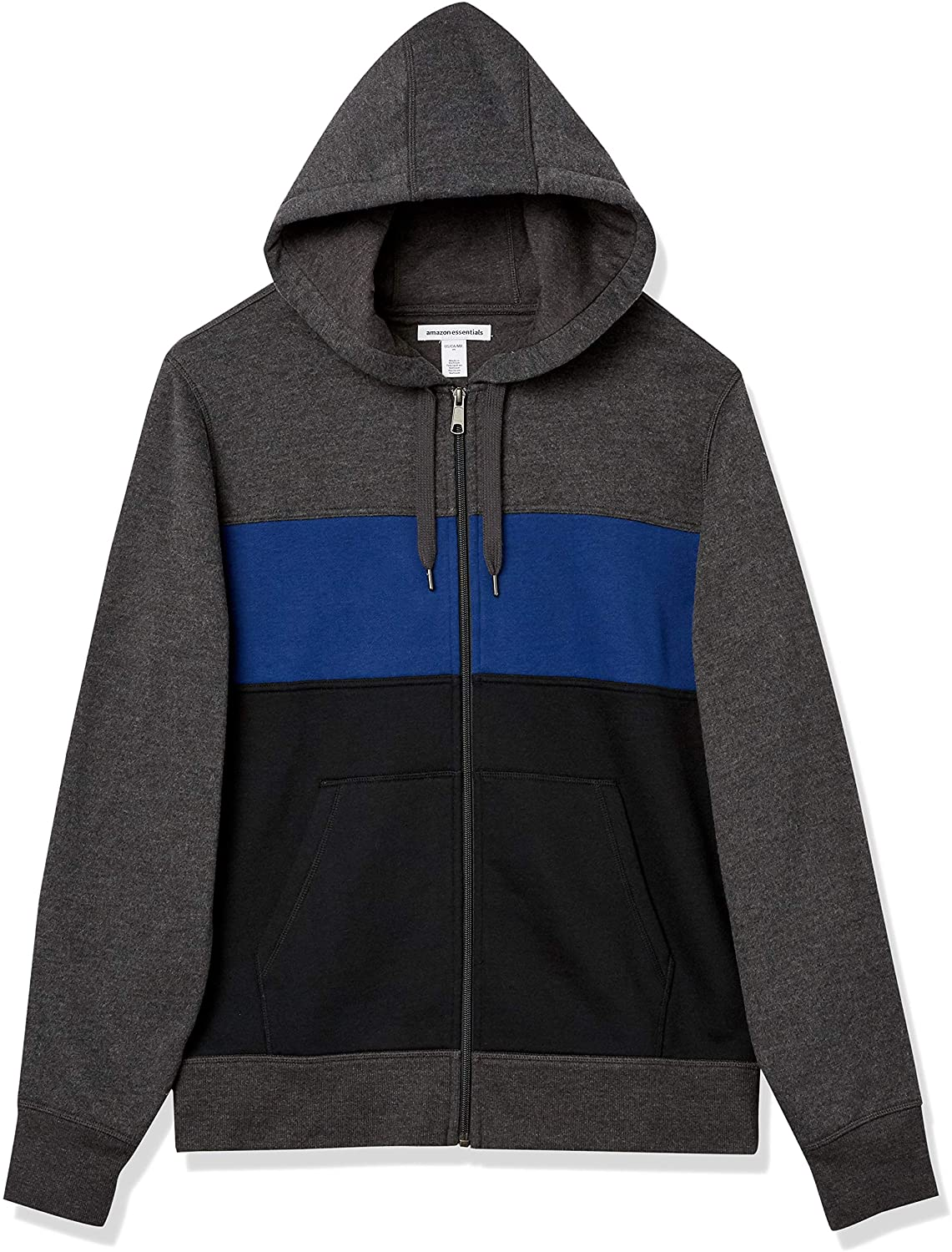 Amazon Essentials Men's Full-Zip Hooded Fleece Sweatshirt in color blocked with dark grey, blue and black