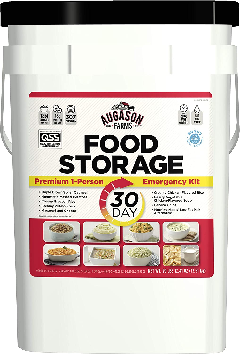 White bucket of Augason Farms 30-day, one-person emergency food supply