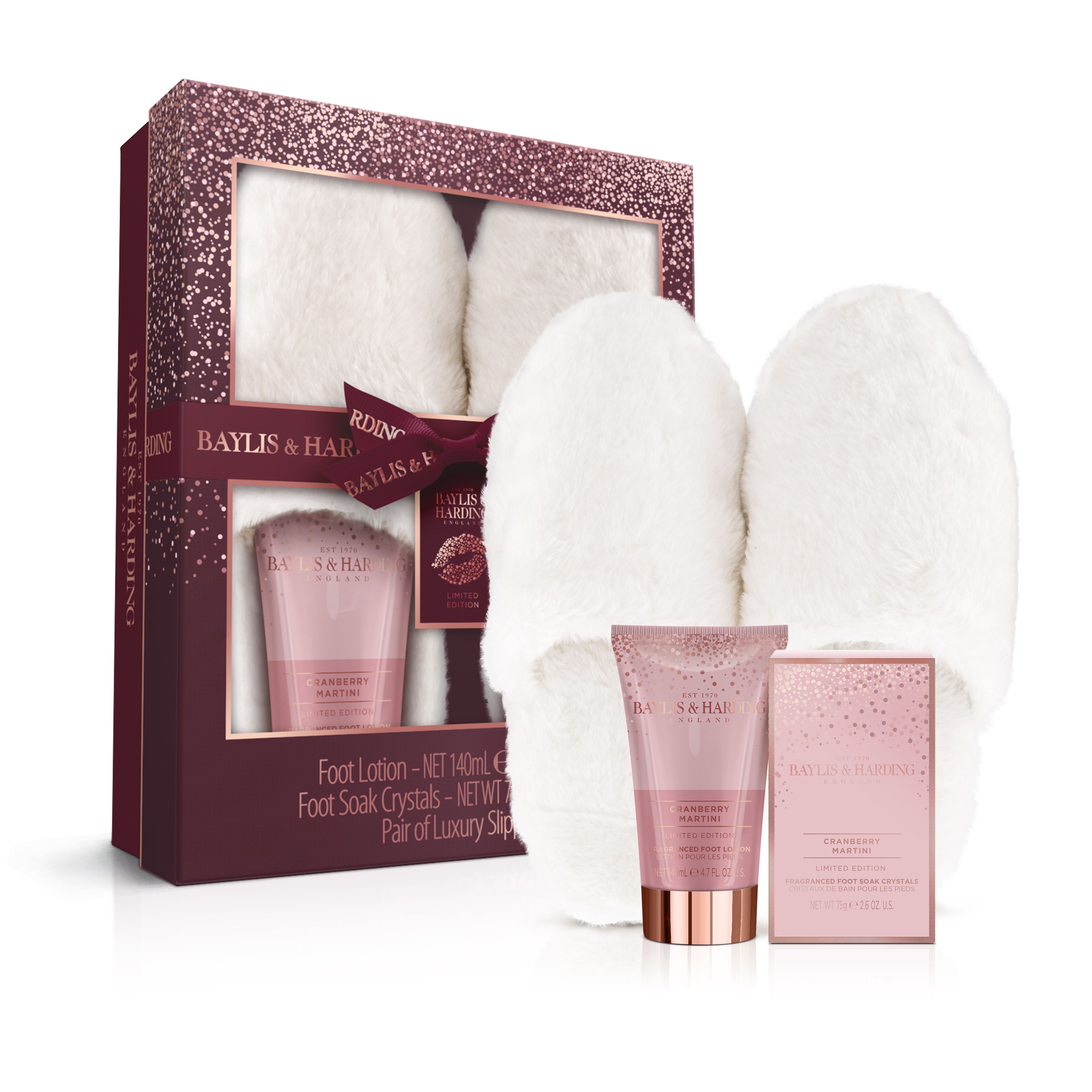 Baylis & Harding Cranberry Martini Luxury Slipper Gift Set