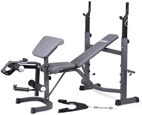 Body Champ Olymic Weight Bench with barbell rack, preacher curl, leg developer and crunch handle, all in dark gray and black