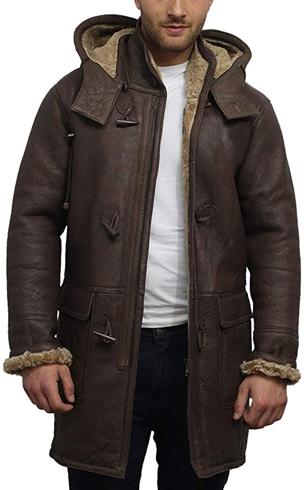 Brandslock-Mens-Real-Shearling-Sheepskin-Leather-Warm-Duffle-Trench-Coat