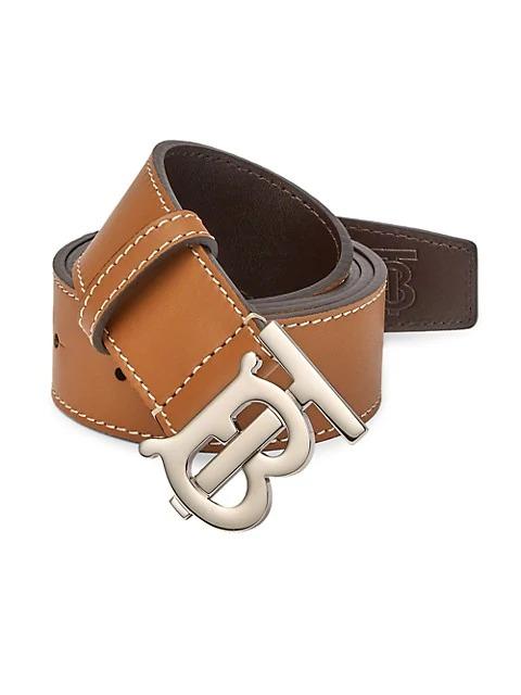 Men's Designer Belts: Burberry RB Plaque Saddle Stitch Brown Leather Belt