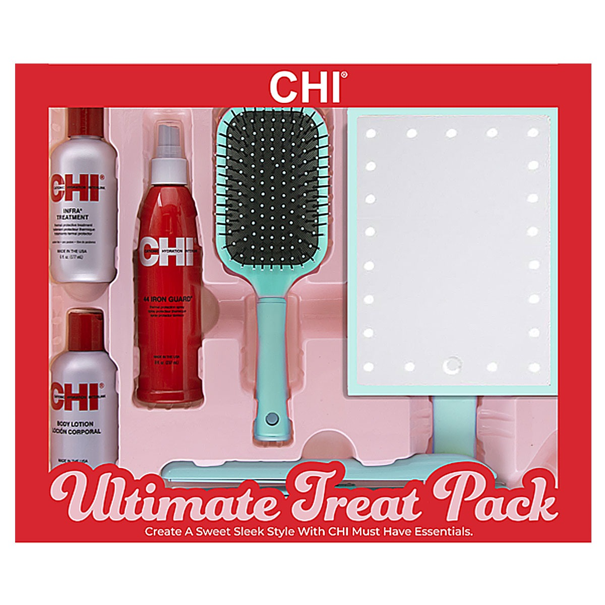 CHI-Ultimate-Treat-Pack ( it contains 1-inch Ceramic Flat Iron, CHI Large Paddle Brush, CHI Infra Shampoo, CHI Infra Conditioner, and CHI's 44 Iron Guard Thermal Protecting Spray