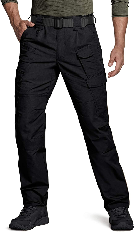 Man wears CQR Men's Tactical Pants in black
