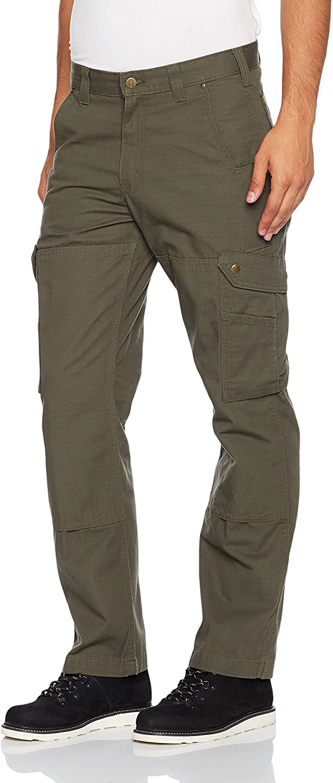 Man wears Carhartt Men's Ripstop Cargo Work Pant in green