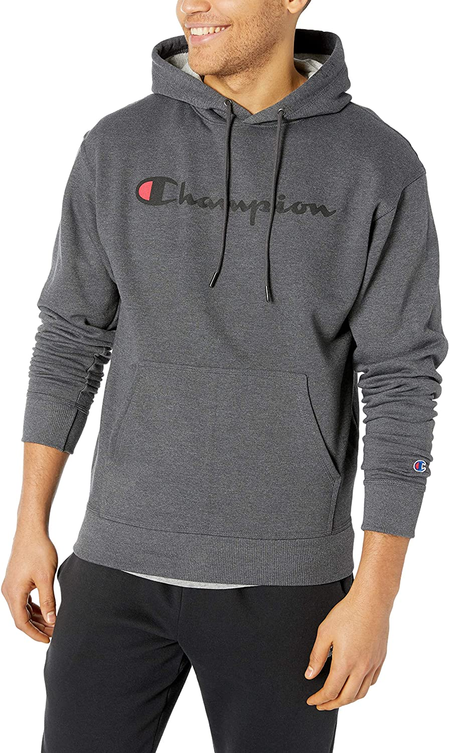 Champion Men's Graphic Powerblend fleece hoodie in grey with large logo
