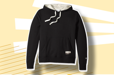 Man pulls jacket over Carhartt hoodie