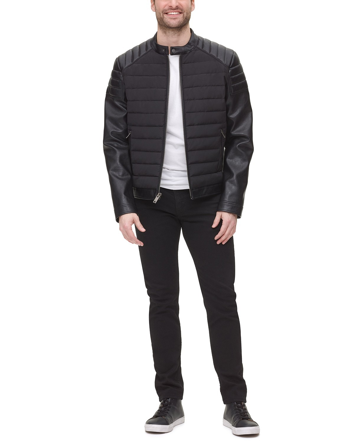 DKNY Mixed Media Quilted Racer Men's Jacket