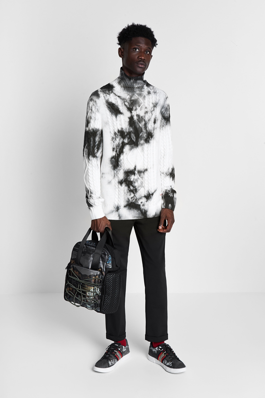 black and white desigual tie dye fisherman sweater