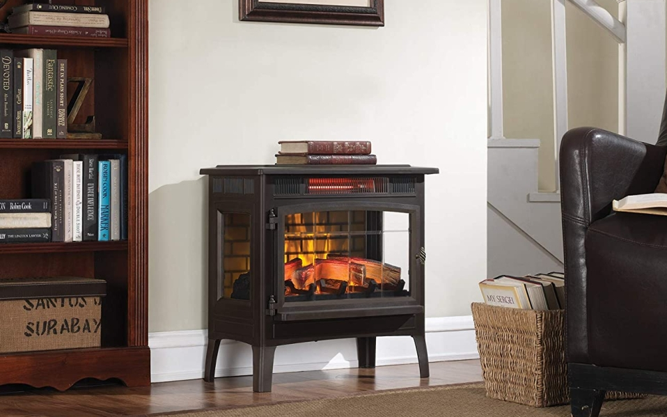 Bronze Duraflame electric fireplace in living