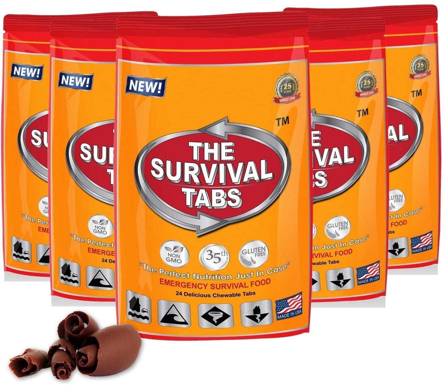 Five packs of The Survival Tabs emergency food supply chocolate tabs