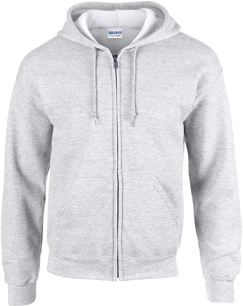 Gildan Men's Fleece Full-Zip Hooded Sweatshirt in light grey