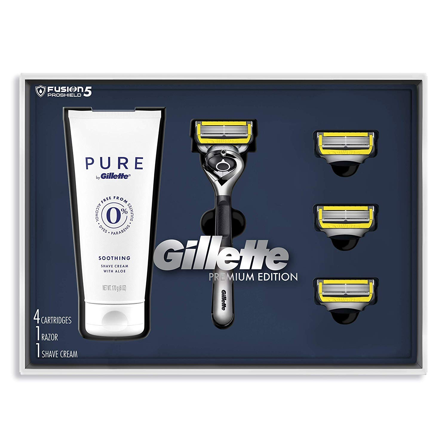 Gillette Fusion ProShield Shave Gift Set for men, including a razor, 4 refills and shaving cream