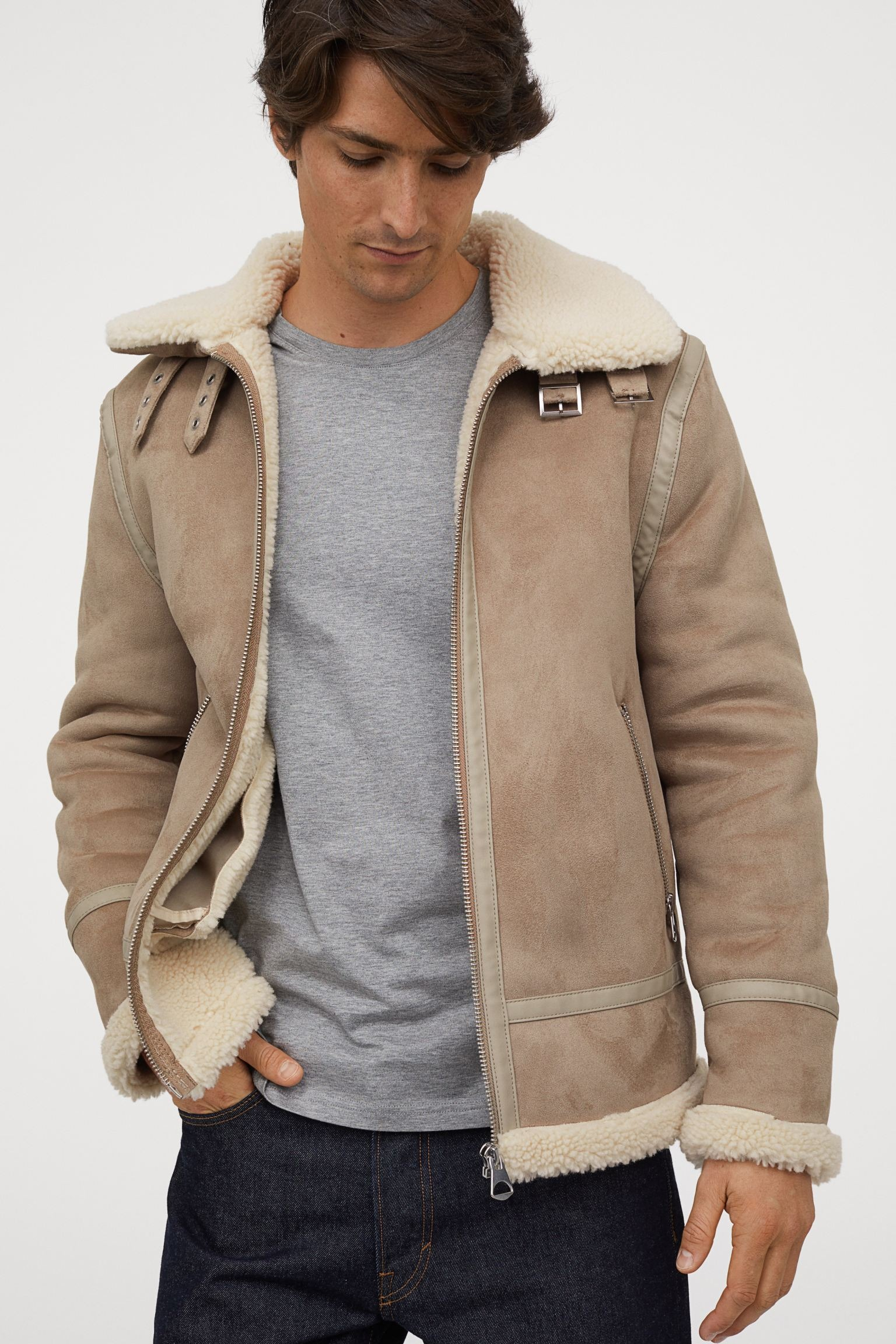 HM-Faux-Shearling-Lined-Jacket Taupe