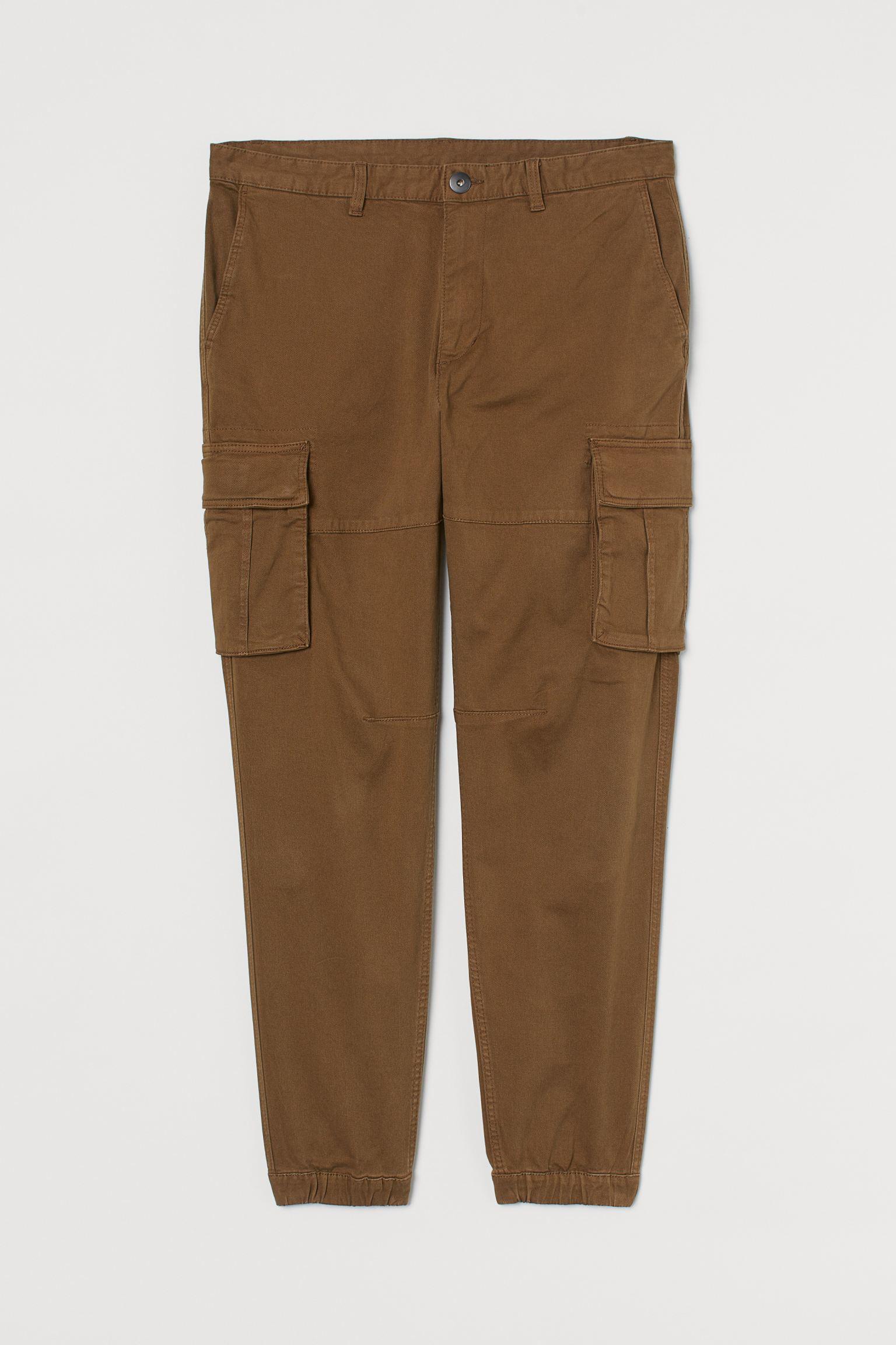 H&M Slim Fit Cargo Pants in brown