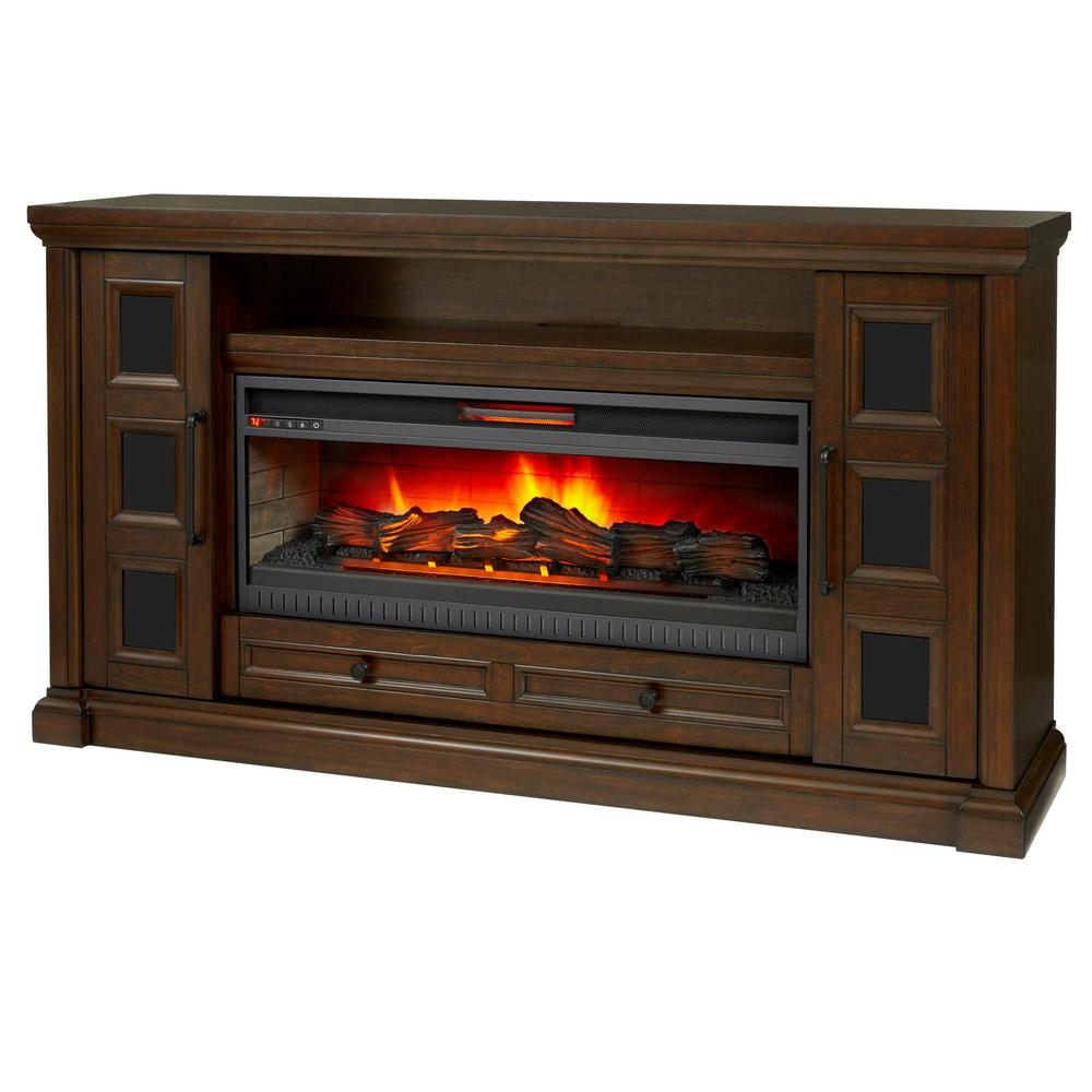 Home Decorators Collection Cecily rich brown cherry media console with electric fireplace