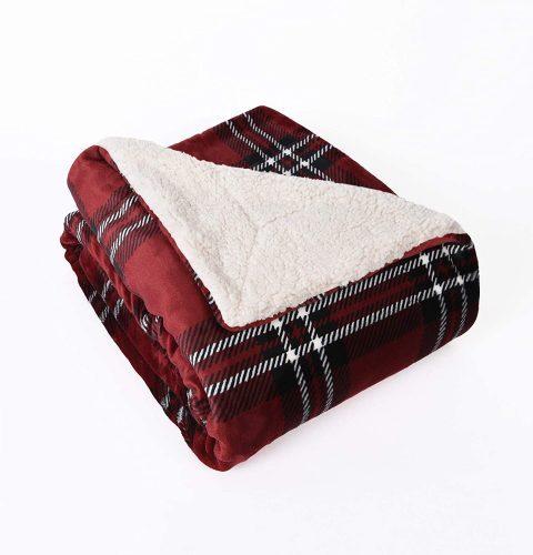 red plaid sherpa blanket