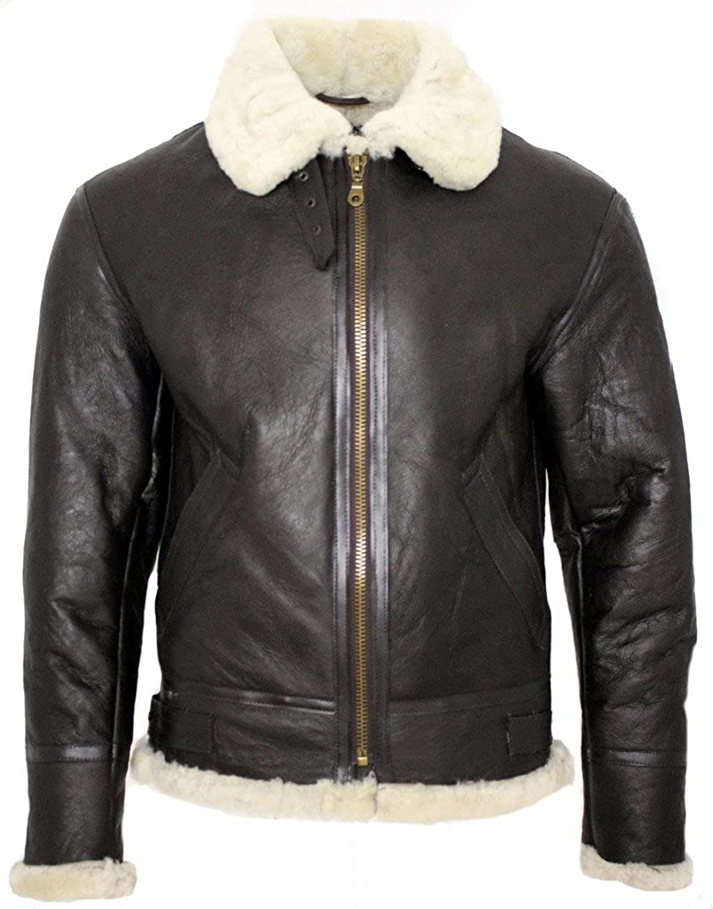 Infinity Men's Cream B3 Shearling Sheepskin World War 2 Bomber