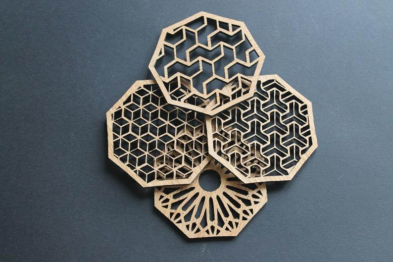 Best Etsy Gifts - Lasaris Geometric Delights Laser Cut Coasters Set of 4