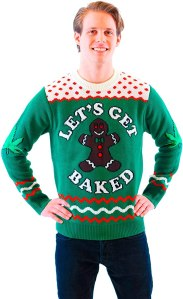 lets get baked happy gingerbread adult green sweater