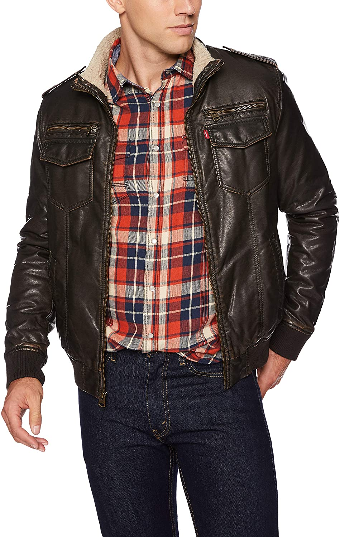 Levi's Men's Vintage Deer Faux Leather Aviator Bomber - best men's leather jackets