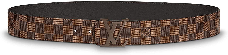 best designer belts for men: Louis Vuitton Damier Ebene Canvas LV Initiales 40mm Belt