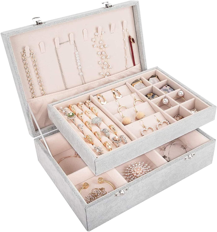 Mebbay 2 Layer Velvet Jewelry Box