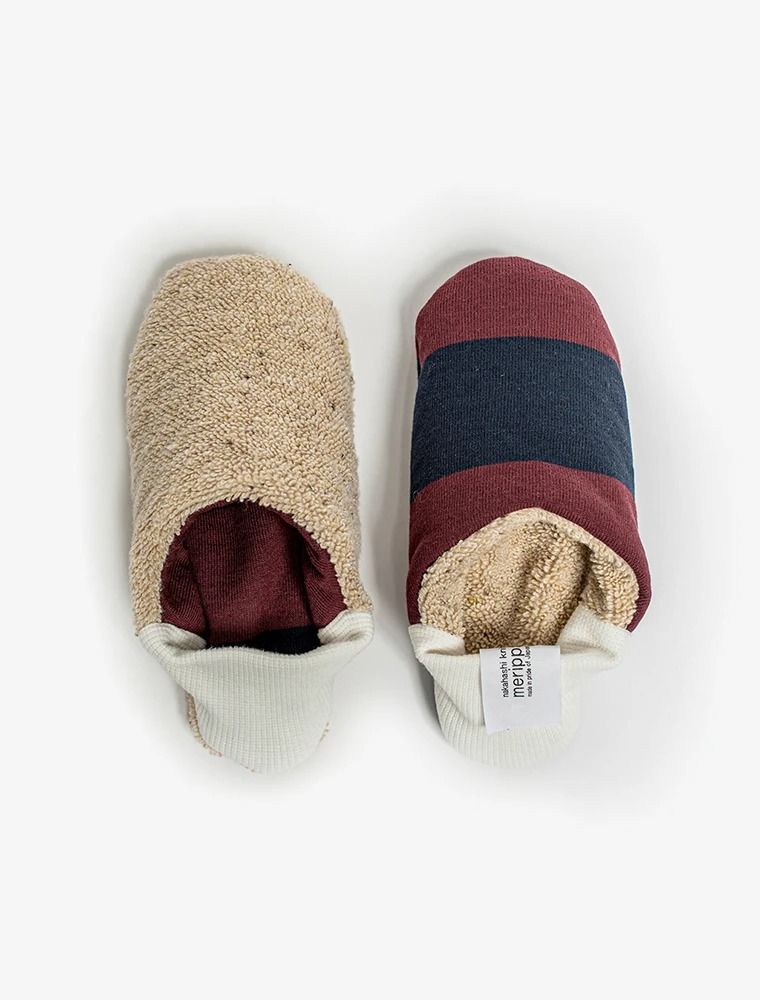 best house slippers for men: Burgundy and blue Merippa reversible house slipper