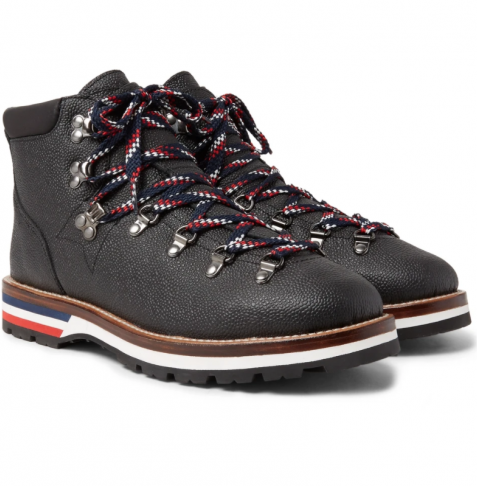 Moncler Peak Pebble-Grain Leather Hiking Winter Boots