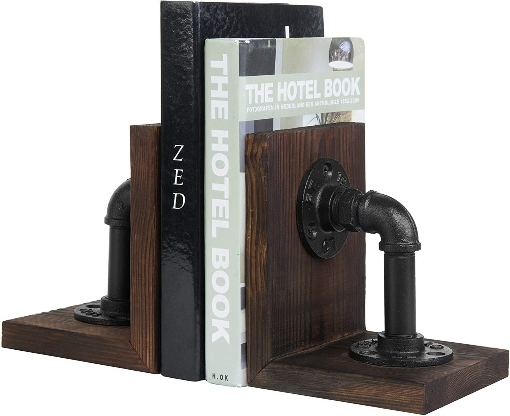 MyGift Dark Brown Industrial Pipe & Rustic Wood Bookends